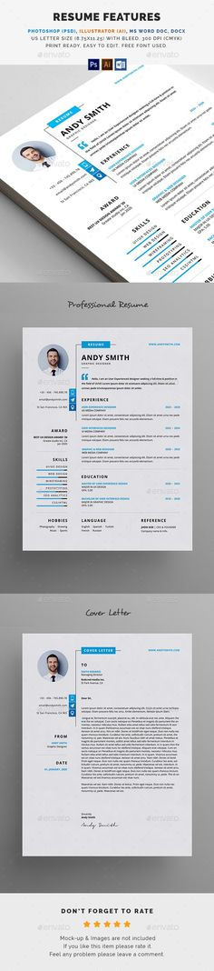 Modern Professional Resume Template for Word Instant Download by - modern professional resume