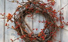 Bittersweet Wreath - Primitive Bittersweet Wreath - Fall Wreath - Natural Vine Wreath