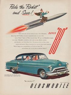 "Description: 1951 OLDSMOBILE vintage print advertisement ""Super 88 -- Model Year 1951""-- Ride the ""Rocket"" and Save! Super ""88"" -- Size: The dimensions of the full-page advertisement are approximately 10.5 inches x 14 inches (27cm x 36cm). Condition: This original vintage full-page advertisement is in Very Good Condition unless otherwise noted ()."