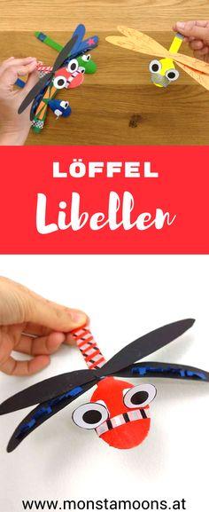 Libellen basteln, Basteln mit Löffeln, DIY dragonfly craft, Monstamoons, spoon crafts, summer crafts, Basteln für den Sommer, DIY Libelle