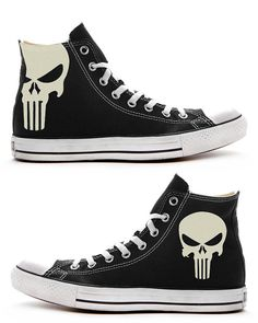 The Punisher Custom Converse / Painted Shoes by FeslegenDesign