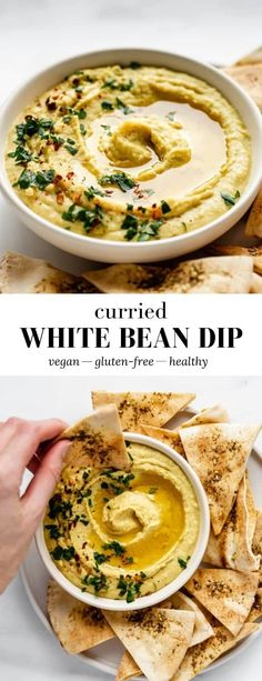 This curried white bean dip is SO easy to make and takes less than 10 minutes! This curried white bean dip is SO easy to make and takes less than 10 minutes! Healthy Vegan Snacks, Vegetarian Recipes, Healthy Recipes, Vegan Bean Recipes, White Bean Recipes, Vegan Party Food, Healthy Fats, White Bean Dip, White Beans