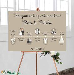 Esküvői poszter - Esküvői program, timeline, ültetési rend  (BBdesign) - Meska.hu Wedding Day Timeline, Wedding Programs, Wedding Invitations, Second Weddings, Romantic Weddings, Blue Weddings, Diy Wedding, Rustic Wedding, Wedding Ideas