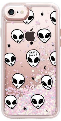ALIEN GLITTER - Casetify iPhone 7 Glitter Case - Cute White UFO Space Alien Drawing Pattern by hyakume #Casetify