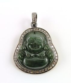 Stunning Laughing  Buddha   Large Pendant with Pave by Beadspoint