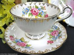 QUEEN ANNE teacup floral PATTERN TEA CUP AND SAUCER DUO | eBay
