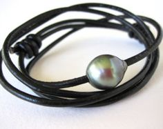 Leather pearl  Pearl and leather wrap by LeatherPearlJewelry