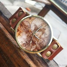Retro World Map Leather Watch only $23.9 in ByGoods.com