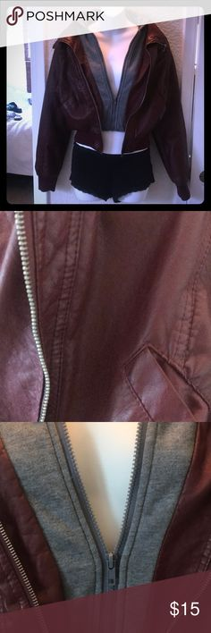 Ambiance faux leather crop jacket Burgundy and grey. No flaws. Fits like medium so sized as such. Super cute on. Finish the season off in style!!  Length is 19 inches. Tags: Hollister. Free People. Boho. Gypsy. Festival. Hippy. Beach. PINK. Banana Republic. Buckle. H&M. American Rag. Pac Sun. Forever 21. RipCurl. Levi's. Vintage. Fossil. Victoria's Secret. Urban outfitters. Please Check out my adorable other listings! Happy Shopping! Ambiance Jackets & Coats Jean Jackets