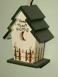 Hand Painted Mini Birdhouse Home Tweet Home decor by dagutzyone, $10.00