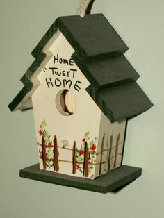 Hand Painted Mini Birdhouse Home Tweet Home decor by dagutzyone, $10.00