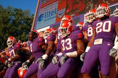 clemson tigers running down the hill in death valley Clemson Football, Clemson Tigers, College Football, Football Helmets, Saturday Night Football, Cambria Hebert, Its Goin Down, Tiger Roaring, Alma Mater