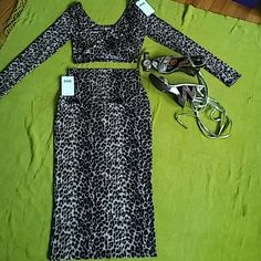 Final price;Two piece cheetah print outfitt Summer long sleeve crop top, and maxi skirt; very trendy; nwt; size medium but fits a small; this item is so very feminine and trendy; perfect for a summer night out; comfortable fabric; codigo/ babe society Other