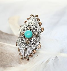 Silver and Turquoise Wing Ring