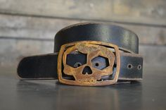 Skull Belt Buckle & Belt Combo by Fosterweld by FosterWeld on Etsy, $56.00