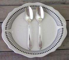 Vintage Silver Plate Serving Spoons Set of Two Floral by 22BayRoad, $16.00