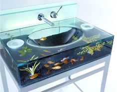 Aquarium Sink #sinks, #bathrooms, #aquariums, #homedecor, #pinsville