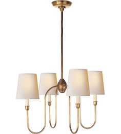 Visual Comfort Thomas OBrien Vendome 4 Light Chandelier in Hand-Rubbed Antique Brass TOB5007HAB-NP #visualcomfort