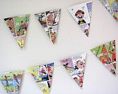 Bash Steet Kids bunting. Beano comic garland. Upcycled rescued book. Eco-friendly.  Party Children  Kids Playroom. Handmade in UK
