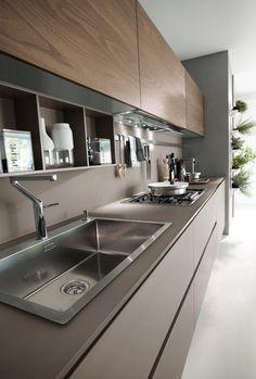 Cozinha lacada linear SYSTEM Composition 06 by Pedini