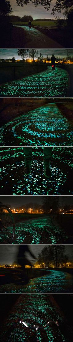 Studio Roosegaarde is known for its mind-bending designs, from a solar-powered glowing highway to a ring made out of smog, but their latest project takes things to an incredible new level. Inspired by Vincent Van Gogh's The Starry Night, the project in The Netherlands is a gorgeous illuminated bike path made out of swirling solar-powered LED lights and light-collecting paint. At night, the path is lit by thousands of twinkling stones, creating a beautiful night sky on the ground. The path is…