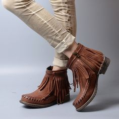 148.64$  Watch now - http://aijqs.worlditems.win/all/product.php?id=32800847686 - Designer Fringe Leather England Women Ankle Boots brand Soft Flat Casual Shoes Woman Gladiator Short Motorcycle Booties Botas