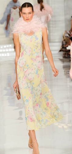 Primavera - Ralph Lauren.  Not crazy about the pink feather boa but I love the dress.