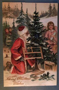 Santa Claus with Angel~Tree~Children~Antique~PFB Christmas Postcard-AS Victorian Christmas, Vintage Christmas Cards, Vintage Cards, Vintage Postcards, Father Christmas, Christmas Love, Christmas Images, Christmas Decor, German Christmas