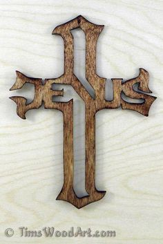 Jesus Cross, Baltic Birch Wood Cross for Wall Hanging or Ornament, Item J-6