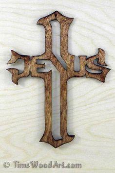 Jesus Cross, Baltic Birch Wood Cross for Wall Hanging or Ornament, Item J-6