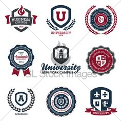 Set Of University And College School Crests And...