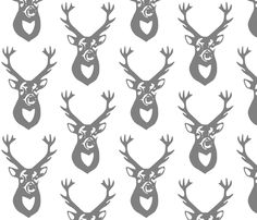 Gray Deer fabric by efolsen on Spoonflower - custom fabric. This fabric makes me want to start over with the entire nursery!!