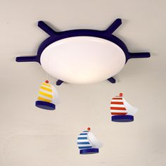 Sailing Boats ceiling light with a boat design Boat Design, Yellow Stripes, Color Azul, Lamp Design, Montage, Light Up, Sailing, Kids Room, Table Lamp
