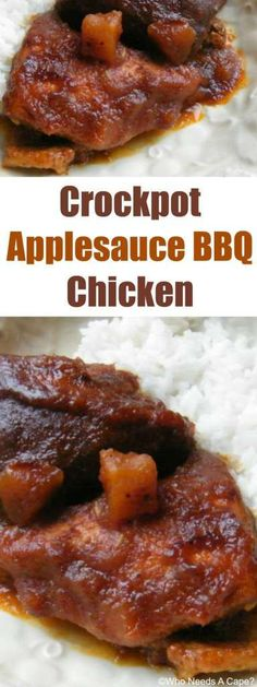 Crockpot Applesauce BBQ Chicken, this slow cooker meal will be an instant family favorite. Throw in your slow cooker and you'll enjoy a great dinner.