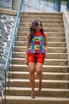 Outfit: Ankara top & short (c/o TUM by Valarie Black), Sophia Webster pumps, Anarchy necklace, Ray ban sunglasses African Print Dresses, African Wear, African Attire, African Women, African Dress, African Style, African Prints, African Inspired Fashion, African Print Fashion