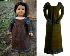 1815 Olive Green & Blue Regency Dress (Replica of Antique Dress) for American Girl Dolls - by Morgan May @ Stardust Dolls