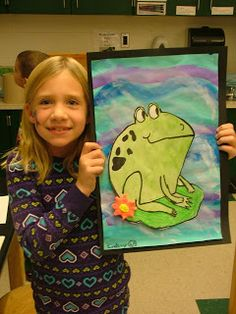 Art with Mrs. Seitz: Grade frogs with model magic flowers. Talked about creating texture. Used for practicing drawing and water-colour skills. Elementary Art Rooms, Art Lessons Elementary, Mixing Primary Colors, Square 1 Art, 2nd Grade Art, Grade 2, Second Grade, Frog Art, Kindergarten Art