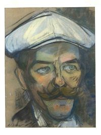 Otto Nagel,  Portrait eines Mannes mit Schnauzbart und Schiebermütze