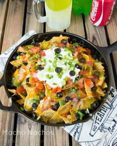 Macho Nachos (This PIN actually takes you to the site instead of a stupid picture). Season the meat with all natural ingredients instead of packets and sodium AND use organic blue corn tortilla chips...now you've got a healthy yum!.