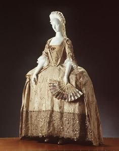 The robe à la française or sack-back open robe was the most popular and lasting dress style for the fashionable women in the 18th century. So named for its association with the French court at Versailles and for the loose double box pleat of drapery that falls down the back from the shoulders. The g...