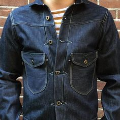 Rising sun Cattleman Denim Jacket IND RAW | Black & Blue