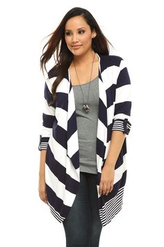 Navy And White Striped Open-Front Ribbed Cardigan