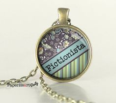 Fictionista Necklace - Book Lover Necklace - Reader Necklace - Bookish -   (B4871)