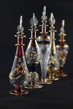 perfume bottles by zenboy Egyptian Perfume Bottles, Antique Perfume Bottles, Vintage Perfume Bottles, Bottles And Jars, Glass Bottles, Perfumes Vintage, Glas Art, Potion Bottle, Genie Bottle