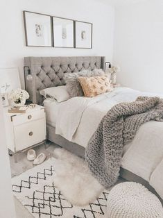 40 Chic Bedroom Decorating Ideas for Teen Girls Teen Room Decor Ideas Bedroom Ch. - 40 Chic Bedroom Decorating Ideas for Teen Girls Teen Room Decor Ideas Bedroom Chic decorating Girls - Farmhouse Bedroom Decor, Farmhouse Furniture, Home Decor Bedroom, Farmhouse Design, Rustic Farmhouse, Bedroom Ideas Grey, Trendy Bedroom, White Bedroom Furniture, Farmhouse Style