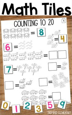 Math Centers - Numbers to 20 - Math Tiles are a FUN and HANDS-ON way for students to build their math skills! This set focuses on counting to 20 using picture groups, ten frames, dominoes, dice, and more! Ideal for pre-K and kindergarten math centers. Elementary Teaching, Kindergarten Classroom, Teaching Math, Teaching Resources, Teaching Ideas, Classroom Ideas, First Grade Teachers, First Grade Classroom, First Grade Math