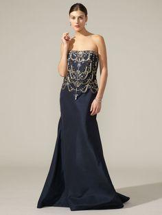 Naeem Khan  Silk Taffeta Embellished Gown