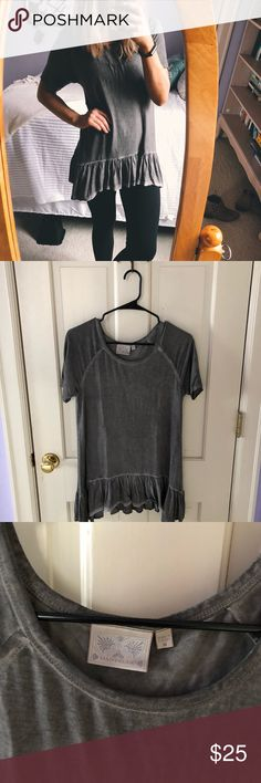 Dantelle Ruffle Hem Trapeze Tunic item info // + beautiful stone washed grey color  + size m but can also fit a small!  + 92% rayon 8% spandex + barely worn and amazing condition + sold at Nordstrom   closet info // + bundles 10% off + offers encouraged Dantelle Tops Tunics