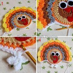 Crochet Turkey Coaster Thanksgiveing 25