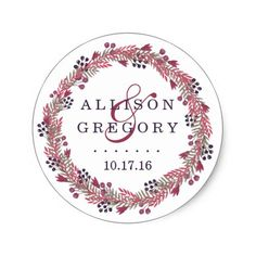 Winter Berry Wreath Wedding Classic Round Sticker